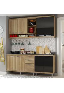 Cozinha Compacta Sicília 8 Portas Para Pia Com Balcão Preto/Argila - Multimóveis