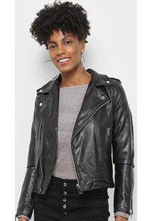 Jaqueta C & V Collection Biker Feminina - Feminino-Preto