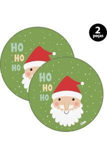 Capa Para Sousplat Mdecore Natal Papai Noel Verde 2Pçs