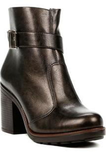 Bota Ankle Boot Feminino Bronze