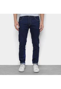 Calça Jeans Skinny Watkins&Krown Lavagem Escura Cintura Média Masculina - Masculino-Azul Escuro