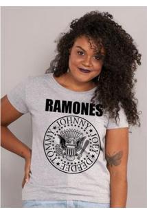 Camiseta Bandup! Ramones Logo - Feminino-Mescla