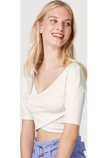 Blusa Cropped Feminina Em Malha Texturizada