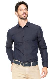 Camisa Vivacci Poá Azul-Marinho