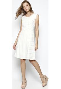 Vestido Com Linho & Recortes- Off White & Bege Clarodbz Jeans