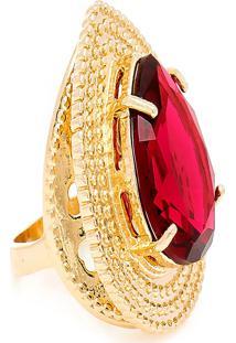 Anel Gota Semijoia Banho De Ouro 18K Cristal Vermelho
