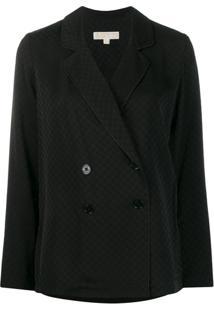 Michael Michael Kors Blazer Jacquard Com Logo - Preto