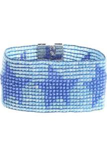 Pulseira Em Tear Estrela - Feminino-Azul Claro+Azul