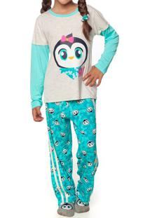 Pijama Patches- Verde Água & Cinza Claropuket