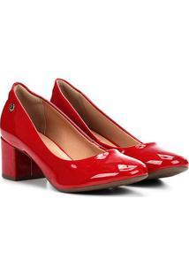 Scarpin Via Uno Salto Médio Bico Redondo - Feminino-Vermelho