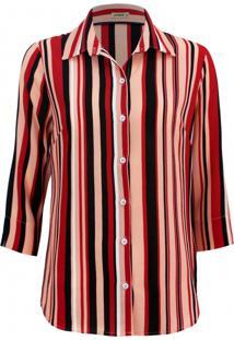 Camisa Intens Manga 3/4 Crepe Listrado Vermelho