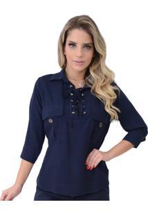 Camisa Mamorena Dec. Ilhós Com Bolso Azul Marinho