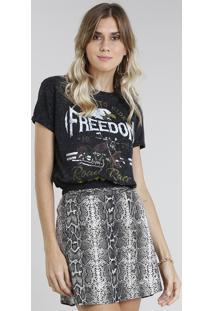 "Blusa Feminina ""Freedom"" Manga Curta Decote Redondo Preta"