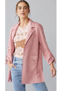 Casaco Amaro De Suede Com Bolsos Retangulares Rose - Multicolorido - Feminino - Dafiti