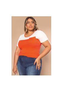 Blusa Bicolor Almaria Plus Size Amiska Bolso Frontal Laranja