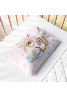 Fronha Bebê Rosa Casinha Doce Encanto Estampa Grão De Gente Multicolorido