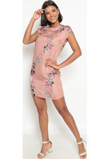 Vestido Floral Com Amarração- Bege & Verdevip Reserva