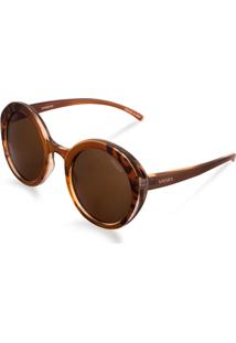 Óculos De Sol Redondo Feminino Acetato Tigrado Marrom