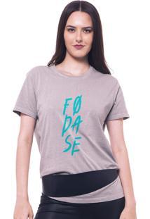 Camiseta Joss Estonada Cinza Estampada Fodase Verde
