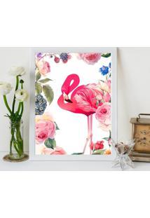 Quadro Decorativo Com Moldura Flamingo Flowers Branco - 20X25Cm - Multicolorido - Dafiti
