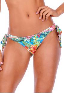 Calcinha Summer Soul Cós Médio Com Amarração Flora Colors