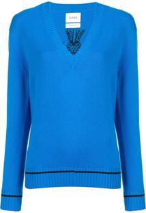 Barrie Suéter Decote Em V - Azul
