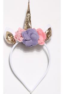 Tiara Unicórnio Glitter Branca E Rosa - Puket
