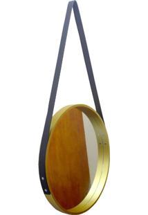 Espelho Adnet Redondo Alça 40Cm Dourado Alça Preta
