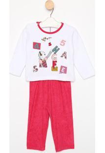 Pijama Manga Longa & Calã§A- Branco & Pinksonhart