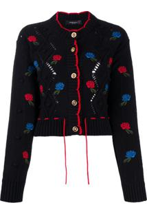 Versace Embroidered Round Neck Cardigan - Preto