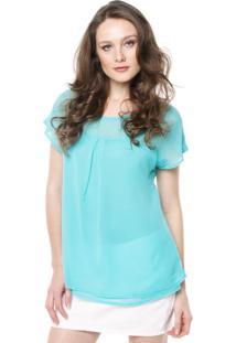 Blusa Colcci Comfort Transpa Azul