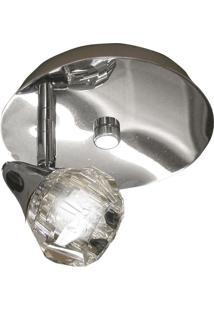 Spot Base Diamont Circular Aço Regulável Base Mr16 1 Lâmpada Gelinho Max 35W