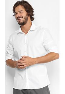 Camisa Calvin Klein Slim Fit Lisa Stretch Masculina - Masculino-Branco