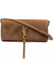 Saint Laurent Kate Tassel Detail Crossbody Bag - Marrom