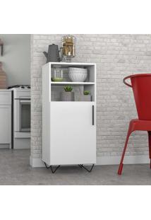 Armário De Cozinha 1 Porta Bmu169 Branco/Preto - Brv Móveis