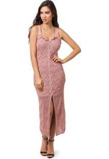Saída De Praia Pink Tricot Longa Botões Pérola - Feminino-Rosa Claro