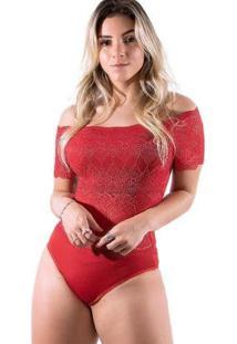Body Diluxo Ciganinha Rendado Feminino - Feminino-Preto