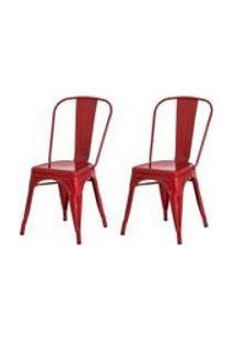 Kit 2 Cadeiras Tolix Iron Design Vermelha Aco Industrial Sala Cozinha Jantar Bar