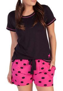 Pijama Feminino Podiun 215159 Poa-Preto/Pink