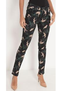 Calça Skinny Abstrata- Verde Escuro & Bege- My Favormy Favorite Things