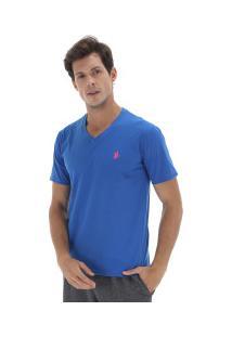 Camiseta Polo Us 706Tsgvb - Masculina - Azul/Rosa
