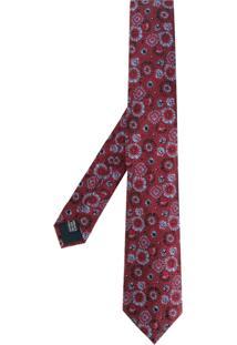 Lanvin Gravata Floral De Seda - Vermelho