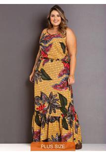 Vestido Longo Quadricular Plus Size Amarelo