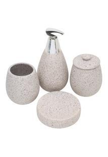 Conjunto 4 Peças Cerâmica Para Banheiro Stone - Cinza