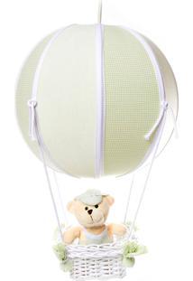 Lustre Balão Bolinha Urso Quarto Bebê Infantil Menino Potinho De Mel Verde