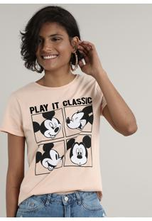 "Blusa Feminina Mickey Mouse ""Play It Classic"" Manga Curta Decote Redondo Rosê"