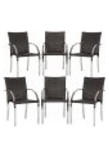 Cadeiras 6Un Para Area Varanda Fibra Sintetica Sala Cozinha Jardim Sacada Madri - Tabaco