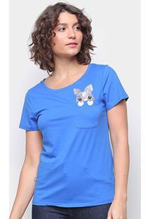 Camiseta Top Moda C/ Bolso Bordada Manga Curta Feminina - Feminino-Azul