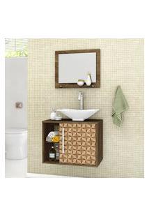Gabinete Para Banheiro Baden Com Cuba E Espelheira Madeira Rústica 3D Bechara