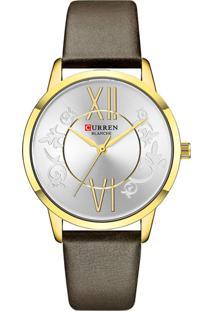 Relógio Curren Analógico C9049L Dourado E Marrom